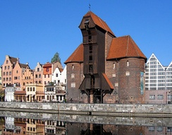 The old and rich port city of Gdańsk  (Danzig) in Poland. View of the Krantor (crane gate)