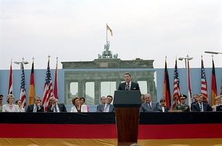"Reagan challenging Soviet General Secretary Mikhail Gorbachev to ""tear down this wall!,"" from the Brandenburg Gate in June, 1987. Reagan's firm stance with the Soviet Union was an important contributor to his 1984 reelection."
