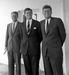 Robert, Ted, and President John F. Kennedy outside the Oval Office in 1963
