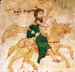 Roger II riding to war, from Liber ad honorem Augusti of Petrus de Ebulo, 1196.