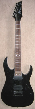 A seven-string electric guitar, the Ibanez RG7321BK