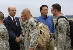 Secretary of the Army Pete Geren and Minnesota Governor Tim Pawlenty welcome home Minnesota National Guard Soldiers deployed with the 1st Brigade Combat Team, 34th Infantry Division for the past 17 months at Volk Field, Wis., July 17.