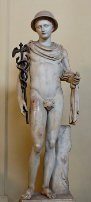 Statue of Hermes wearing the petasos, a voyager's cloak, the caduceus and a purse. Roman copy after a Greek original (Vatican Museums).