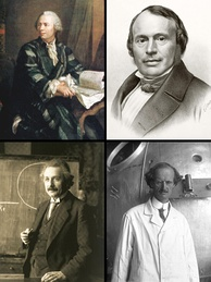Some Swiss scientists who played a key role in their discipline (clockwise):Leonhard Euler (mathematics)Louis Agassiz (glaciology)Auguste Piccard (aeronautics)Albert Einstein (physics)