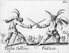 "Two masked characters from the commedia dell'arte, whose ""lazzi"" involved a significant degree of improvisation."