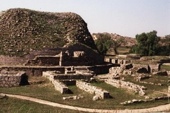 The Dharmarajika stupa in Taxila, modern Pakistan, is also thought to have been established by Emperor Asoka.