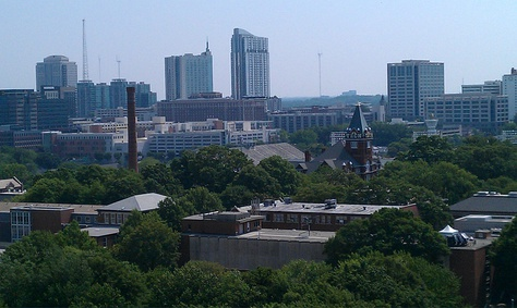 Tech Tower and Georgia Tech's East Campus with Atlanta skyline in the background (Picture taken facing East)