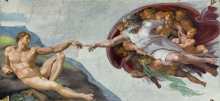 The Creation of Adam depicted on the Sistine Chapel ceiling by Michelangelo, 1508-1512