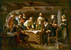 The signing of the Mayflower Compact, 1620