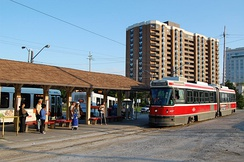 A Toronto Transit Commission streetcar at Long Branch Loop