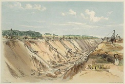 Lithograph entitled Tring Cutting by John C. Bourne (1839) illustrating the excavation near Tring for the London and Birmingham Railway