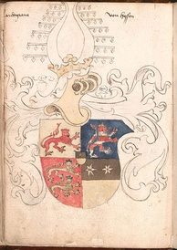 The coat of arms of the Landgrave of Hesse in the Wernigerode Armorial (late 15th century), shown as combining the lions of Hesse, Katzenelnbogen and Diez)
