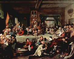 "William Hogarth painting: Humours of an Election (c. 1755), which is the main source for ""Give us our Eleven Days""."