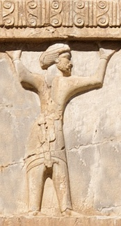 Armenian soldier of the Achaemenid army, circa 470 BC. Xerxes I tomb relief.