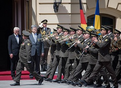 The Band of the Kiev Presidential Honor Guard Battalion performing Frank-Walter Steinmeier's state visit to Ukraine