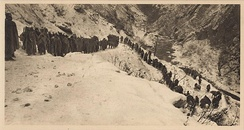 The retreat of the Serbian troops in the winter 1915/16 across a snowy mountain in Albania to Adriatic coast.