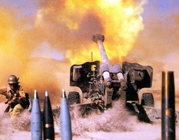 152 mm howitzer D-20 during the Iran–Iraq War.