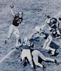 Quarterback Roger Staubach of Navy tosses a pass against Maryland just as the pocket collapses.
