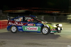 Mikko Hirvonen tackles a night stage on the 2010 Wales Rally GB