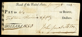 Bank of the United States check signed by John Jacob Astor in 1792