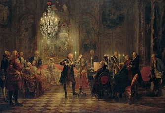 Frederick the Great plays flute in his summer palace Sanssouci, with Franz Benda playing violin, Carl Philipp Emanuel Bach accompanying on keyboard, and unidentified string players; painting by Adolph Menzel (1850–52)