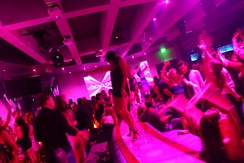 Clubgoers dancing at an upmarket nightclub (Miami, 2008)