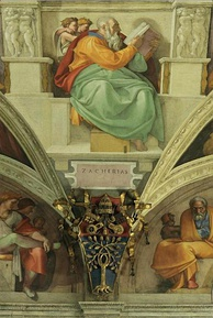 On the wall above the main entrance door of the Sistine Chapel fresco of the Prophet Zechariah lower, with the face of Pope Julius II, le below the coat of the same pope. Michelangelo.