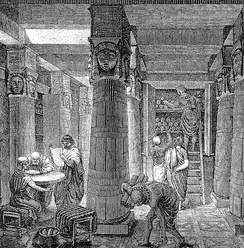 A depiction of the ancient Library of Alexandria