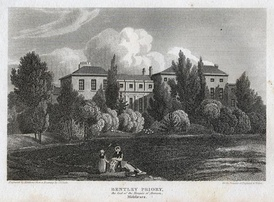 A print by an  unknown artist of Bentley Priory House, Stanmore, England c1800.
