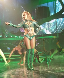 "Spears performing ""(You Drive Me) Crazy"" at her Las Vegas residency show, Britney: Piece of Me, in February 2016."