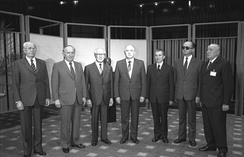 Meeting of the seven representatives of the Warsaw Pact countries in East Berlin in May 1987. From left to right: Gustáv Husák, Todor Zhivkov, Erich Honecker, Mikhail Gorbachev, Nicolae Ceaușescu, Wojciech Jaruzelski, and János Kádár