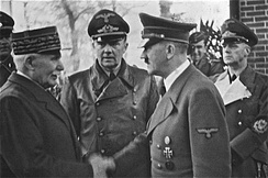 Leader of Vichy France Marshal Philippe Pétain meeting Hitler at Montoire, 24 October 1940