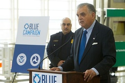 The Blue Campaign collaborates with law enforcement, government, non-governmental, and private organizations to end human trafficking and protect victims.[64]