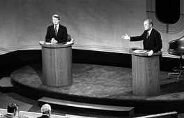 Carter and President Gerald Ford debating at the Walnut Street Theatre in Philadelphia