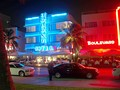 The historical Art Deco District at South Beach at night.