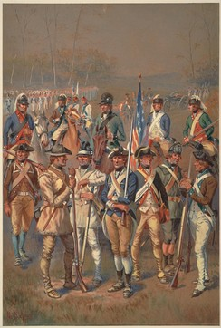 A watercolor painting depicting a variety of Continental Army soldiers