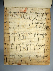 Recto of a 16th-century music manuscript found in the front pastedown of Drexel 4180, a manuscript in the Music Division of the New York Public Library