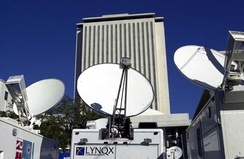 Election 2000; Close-up view of satellite trucks parked by the Florida State Capitol during the 2000 Presidential election vote dispute