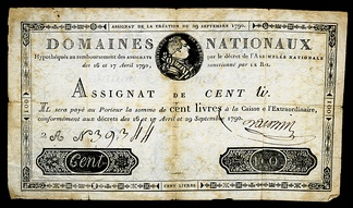 Early French banknote issue by Domaines Nationaux - Assignat for 100 livres, 1790 Issue