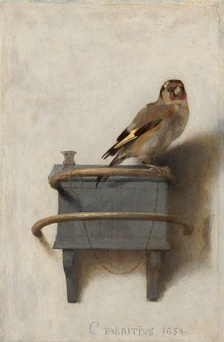 The titular painting, The Goldfinch (1654), by Carel Fabritius