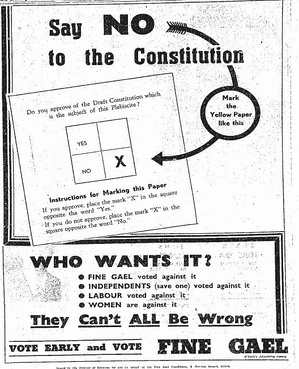 A poster from the party in 1937 advocating that people should vote against the proposed new constitution