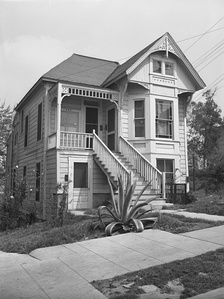 """Fifty years ago this house at 201 N. Flower St. was offered for rental at $20 a month. Today [1946] its four apartments are bringing in $70 monthly. – LA Times, 5-7-46 This house no longer stands, and is in the approximate location of the Walt Disney Concert Hall."