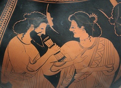 Hermes with his mother Maia. Detail of the side B of an Attic red-figure belly-amphora, c. 500 BC.