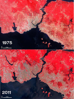 Two maps comparing the size of urban areas in Istanbul (indicated as the grey zones) in 1975 and 2011.
