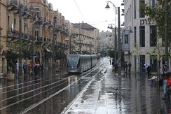 Light Rail tram on Jaffa Road