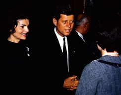Kennedy campaigns with his wife Jacqueline in Appleton, Wisconsin, March 1960