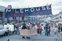Elaborate street parties were thrown across the country, like this one in Plymouth.