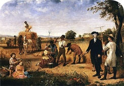 Washington out on the plantation, with Mount Vernon in background, by Junius Brutus Stearns (1851)