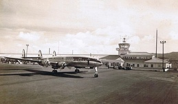 A KLM Constellation at Santa Maria Airport, during the era when the island was a stopover during transatlantic travel