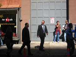 Ice-T with Christopher Meloni shooting Law & Order: SVU on Broome Street in SoHo, New York City (October 10, 2008)